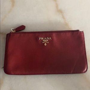 Prada Red Pebble Safiano Leather Wallet Coin Purse